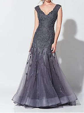 cheap Evening Dresses-Mermaid / Trumpet Elegant Grey Wedding Guest Formal Evening Dress V Neck Sleeveless Floor Length Tulle with Appliques 2020