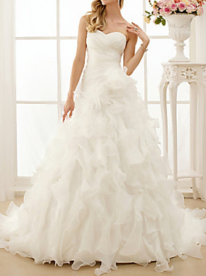 cheap Wedding Party Dresses-A-Line Wedding Dresses Sweetheart Neckline Sweep / Brush Train Chiffon Strapless Simple Vintage Backless with Ruched Cascading Ruffles 2020