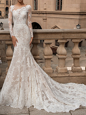 cheap Wedding Dresses-Mermaid / Trumpet Wedding Dresses Bateau Neck Sweep / Brush Train Lace Long Sleeve Romantic Boho Sexy Backless Illusion Sleeve with Buttons 2020