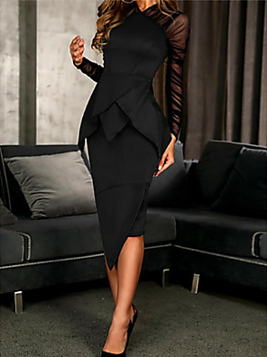 cheap Cocktail Dresses-Sheath / Column Elegant Black Wedding Guest Cocktail Party Dress High Neck Long Sleeve Knee Length Polyester with Ruched Ruffles 2020