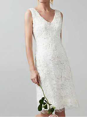 cheap Wedding Dresses-Sheath / Column Wedding Dresses V Neck Knee Length Lace Regular Straps Casual Little White Dress Illusion Detail with Appliques 2020