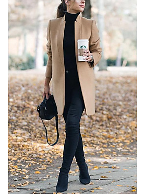cheap Women's Coats & Trench Coats-Women's Fall Winter Coat Daily Basic Stand Long Solid Colored Wine / Khaki / Gray S / M / L