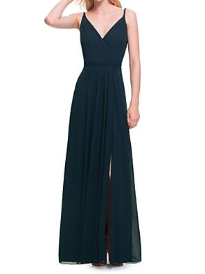 cheap Evening Dresses-A-Line V Neck Floor Length Chiffon Bridesmaid Dress with Ruching