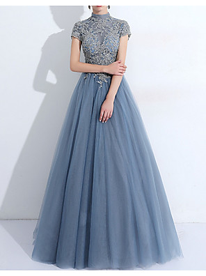 cheap Evening Dresses-A-Line Vintage Blue Quinceanera Prom Dress High Neck Short Sleeve Floor Length Tulle with Pleats Appliques 2020