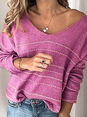 cheap Women's Dresses-Women's Striped Long Sleeve Pullover Sweater Jumper, V Neck White / Purple / Red S / M / L