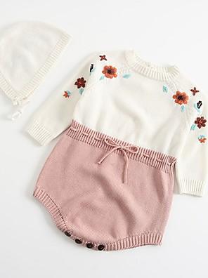 cheap Baby Girls' One-Piece-Baby Girls' Basic Color Block Long Sleeve Bodysuit White