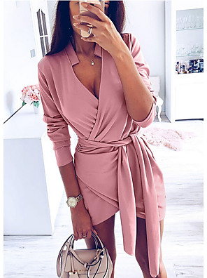 cheap Women's Dresses-Women's Mini Bodycon Dress - Long Sleeve Solid Colored Drawstring Deep V Basic Daily Wear Slim Blushing Pink Brown S M L XL