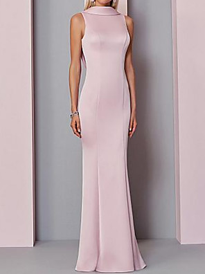 cheap Evening Dresses-Mermaid / Trumpet Pink Wedding Guest Formal Evening Dress High Neck Sleeveless Floor Length Polyester with Buttons 2020