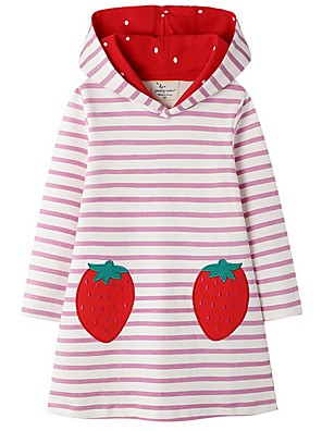 cheap Girls' Dresses-Kids Girls' Cute Striped Dress Blushing Pink