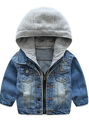 cheap Girls' Dresses-Kids Boys' Street chic Color Block Jacket & Coat Blue