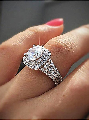 cheap Quartz Watches-Women's Ring Cubic Zirconia Synthetic Diamond 1pc White Gold Plated Gatsby Wedding Anniversary Jewelry Classic Pave Wedding