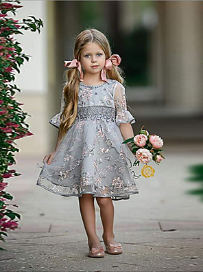 cheap Junior Bridesmaid Dresses-Kids Girls' Solid Colored Dress Light Blue