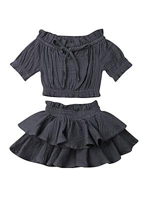 povoljno Kompletići za bebe-Dijete Djevojčice Aktivan Crna / Bijela Jednobojni Kratkih rukava Kratka Kratak Komplet odjeće Crn
