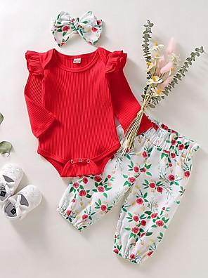 cheap Baby Girls' One-Piece-Baby Girls' Basic Floral Long Sleeve Regular Cotton Clothing Set Blushing Pink / Toddler