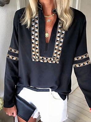 cheap Women's Blouses & Shirts-Women's T-shirt Geometric Long Sleeve Tops V Neck Black Blue Red