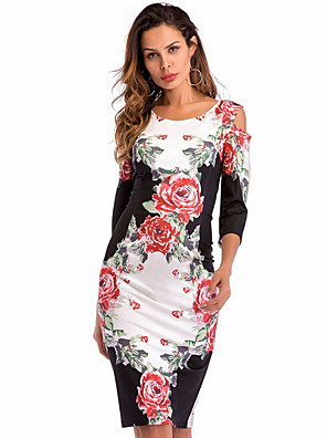 cheap Women's Dresses-Women's Sheath Dress - Half Sleeve Floral Slim Black S M L XL