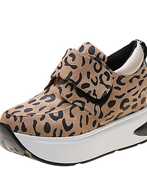 cheap Print Dresses-Women's Sneakers Hidden Heel Round Toe Animal Print Satin Casual Walking Shoes Fall & Winter Leopard