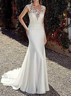 cheap Wedding Dresses-Mermaid / Trumpet Wedding Dresses Jewel Neck Sweep / Brush Train Chiffon Cap Sleeve Illusion Detail Backless with Lace Insert 2020