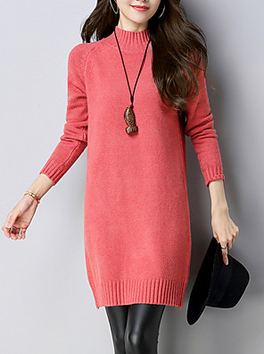 cheap Women's Dresses-Women's Sweater Dress - Long Sleeve Solid Colored Crew Neck Elegant White Black Blushing Pink Army Green Fuchsia Khaki Brown S M L XL