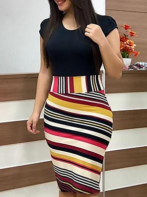 Недорогие Платья-Жен. А-силуэт Платье - С короткими рукавами Геометрический принт Классический На каждый день Черный S M L XL XXL
