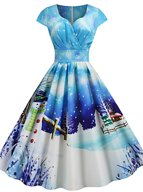 cheap Women's Dresses-Women's Deer Snowman A Line Dress - Short Sleeve Animal Snowflake Print V Neck Basic Street chic Christmas Party Daily Wear Black Blue Light Blue S M L XL XXL XXXL