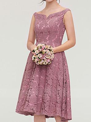 cheap Bridesmaid Dresses-A-Line V Neck Knee Length Lace Bridesmaid Dress with Pleats