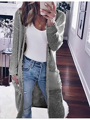 cheap More To Love-Women's Solid Colored Long Sleeve Loose Cardigan Sweater Jumper, V Neck Black / Wine / White S / M / L
