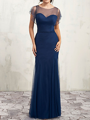 cheap Bridesmaid Dresses-Sheath / Column Jewel Neck Floor Length Chiffon Bridesmaid Dress with Buttons