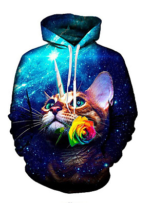 billiga Huvtröjor och sweatshirts till herrar-Herr Huvtröja 3D Huva Ledigt Pull Tröjor Blå