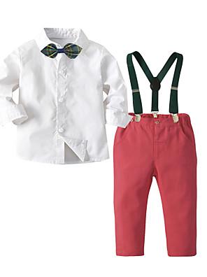 cheap Boys' Tops-Kids Boys' Basic Christmas Home Print Cartoon Long Sleeve Regular Regular Clothing Set White