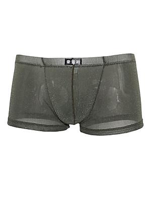cheap Men's Exotic Underwear-Men's Mesh Boxers Underwear / Boxer Briefs - Asian Size 1 Piece Low Waist Black White Purple M L XL
