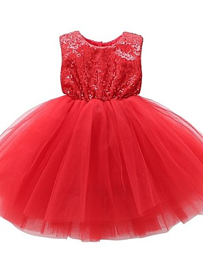 cheap Baby Girls'  Dresses-Baby Girls' Active / Boho Solid Colored Lace / Backless / Sequins Sleeveless Knee-length Dress Black