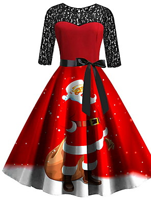 cheap Women's T-shirts-Women's A Line Dress - 3/4 Length Sleeve Geometric Print Elegant Christmas Party Red S M L XL XXL