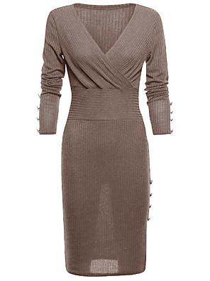 cheap Women's Dresses-Women's Bodycon Dress - Long Sleeve Solid Colored Deep V Wine Blue Dark Gray Brown S M L XL XXL