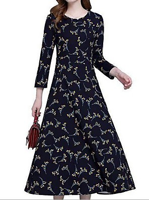 cheap Casual Dresses-Women's Maxi Chiffon Dress - Long Sleeve Print Fruit Print Red Yellow M L XL XXL XXXL