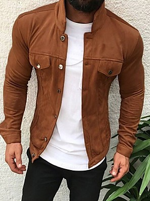 cheap Men's Jackets & Coats-Men's Daily Basic Fall & Winter Regular Jacket, Solid Colored Stand Long Sleeve Polyester Light gray / Army Green / Navy Blue