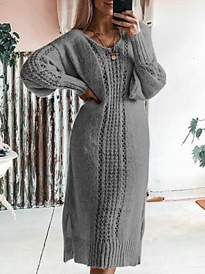 abordables Robes Femme-Femme Robe Trapèze Midi Manches Longues Basique Couleur Pleine Marron clair Vert Gris S M L XL XXL