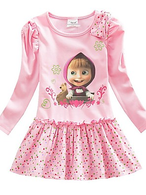cheap Girls' Dresses-Kids Girls' Sweet Panda Cartoon Print Long Sleeve Above Knee Dress Blushing Pink