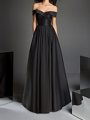 cheap Prom Dresses-A-Line Minimalist Black Prom Formal Evening Dress Off Shoulder Short Sleeve Floor Length Satin with Criss Cross Pleats 2020