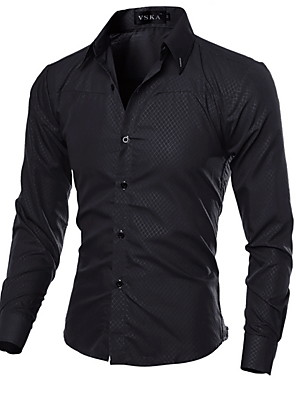 cheap Shirts-Men's Solid Colored Shirt Daily Wine / White / Black / Royal Blue / Navy Blue / Long Sleeve