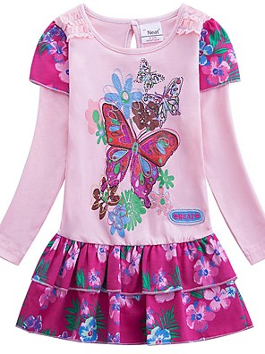 cheap Girls' Dresses-Kids Girls' Cute Cartoon Dress Blushing Pink