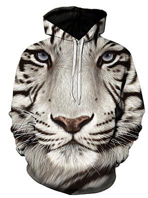 billiga Huvtröjor och sweatshirts till herrar-Herr Plusstorlekar Huvtröja Färgblock 3D Dödskalle Huva Ledigt Streetchic Pull Tröjor Grå