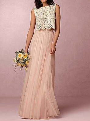 cheap Bridesmaid Dresses-A-Line Jewel Neck Floor Length Chiffon / Lace Bridesmaid Dress with Pleats / Two Piece