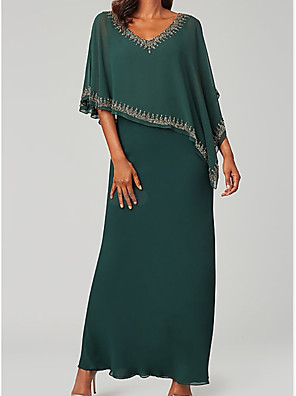cheap Prom Dresses-Sheath / Column Mother of the Bride Dress Elegant Plus Size V Neck Floor Length Chiffon Half Sleeve with Lace 2020 Mother of the groom dresses