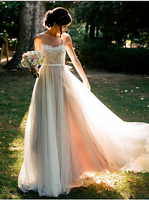 cheap Evening Dresses-A-Line Wedding Dresses Sweetheart Neckline Floor Length Lace Tulle Spaghetti Strap Beach Backless with Appliques 2020
