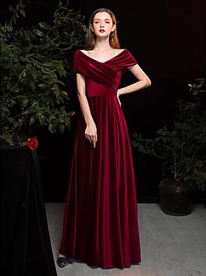 cheap Evening Dresses-A-Line Elegant Vintage Inspired Formal Evening Dress V Neck Short Sleeve Floor Length Satin Velvet with Ruched 2020