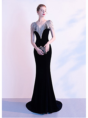 cheap Evening Dresses-Mermaid / Trumpet Celebrity Style Sexy Formal Evening Dress V Neck Sleeveless Court Train Tulle Spandex with Beading 2020