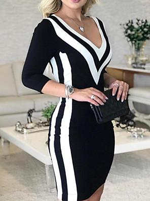 cheap Mini Dresses-Women's Bodycon Dress - Long Sleeve Striped Color Block Stripe Deep V Black S M L