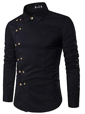 abordables Camisas de Hombre-Hombre Un Color Delgado Camisa Diario Cuello Inglés Blanco / Negro / Rojo / Azul Marino / Manga Larga