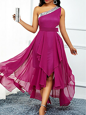 cheap Special Occasion Dresses-A-Line Hot Pink Wedding Guest Cocktail Party Dress One Shoulder Sleeveless Asymmetrical Chiffon with Pleats Sequin 2020